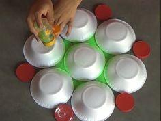 Very easy rangoli designs with bowls // Innovative rangoli //paper bowls art //creative Alpana - YouTube