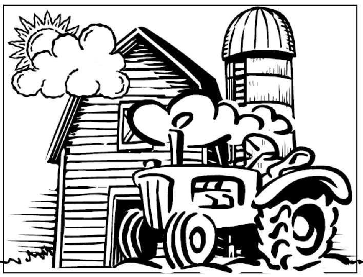 tractor barn and silo on a farm free printable coloring and activity pages click for more fun pages for kids and adults - Barns Coloring Pages Farm Silos