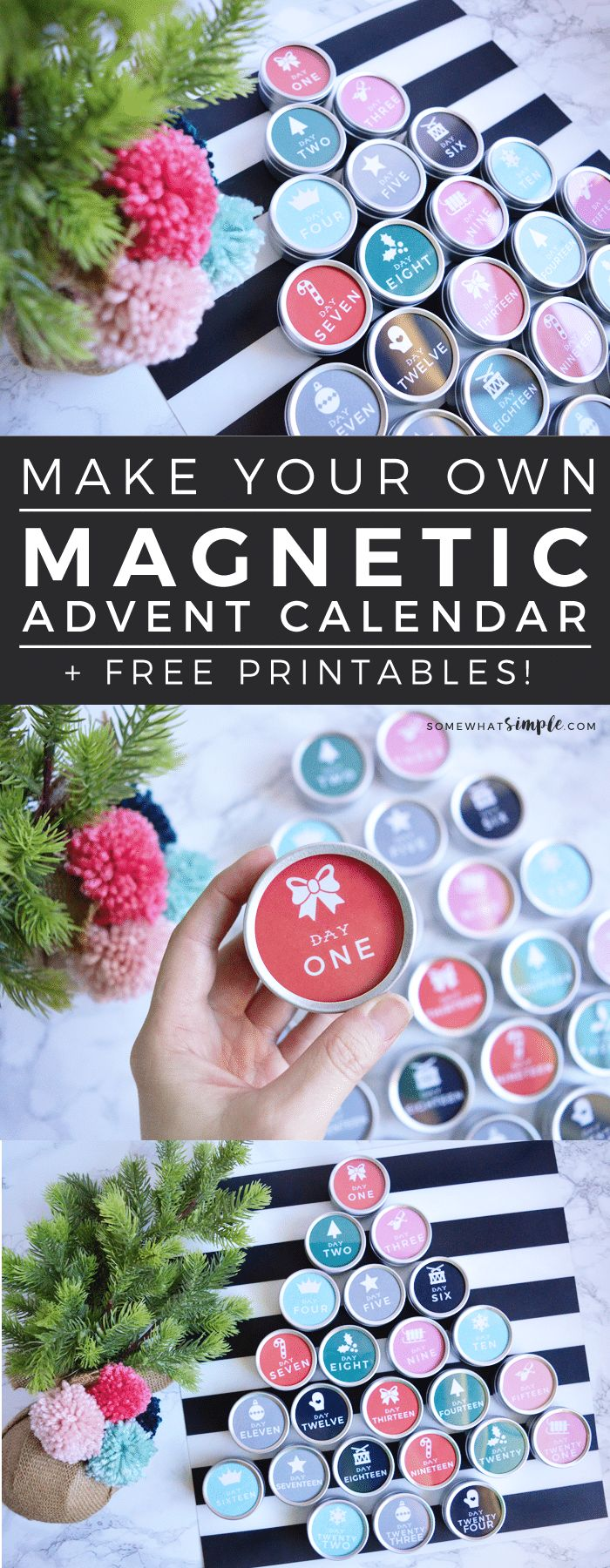 DIY Magnetic Advent Calendar with Free Printables | We can't get enough of this darling magnetic advent calendar! With a few simple supplies, you'll have a genius countdown you can't wait to use every year! #christmascountdown #diychristmasadvent