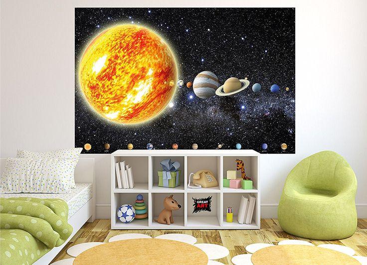 Weltraum wandgestaltung fototapete sonnensystem planeten wandbild dekoration galaxie cosmos space universum all sky sterne galaxy