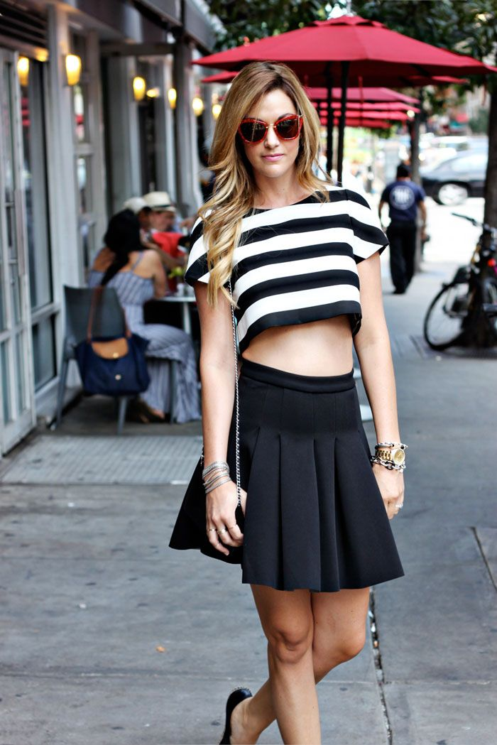 stripped crop top with pleated skirt