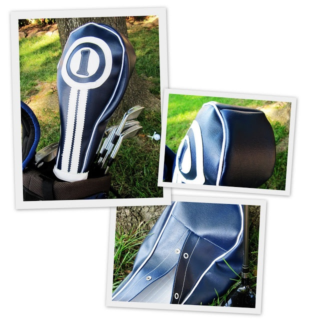 Retro-look, snazzy golf club headcovers to sew! >These are in vinyl but leather (or other fabric) would look great, too.  Might not protect the clubs from the rain as well, though :)  'Might want to also make a matching golf towel ( see: http://pinterest.com/pin/301741243754206798/ )