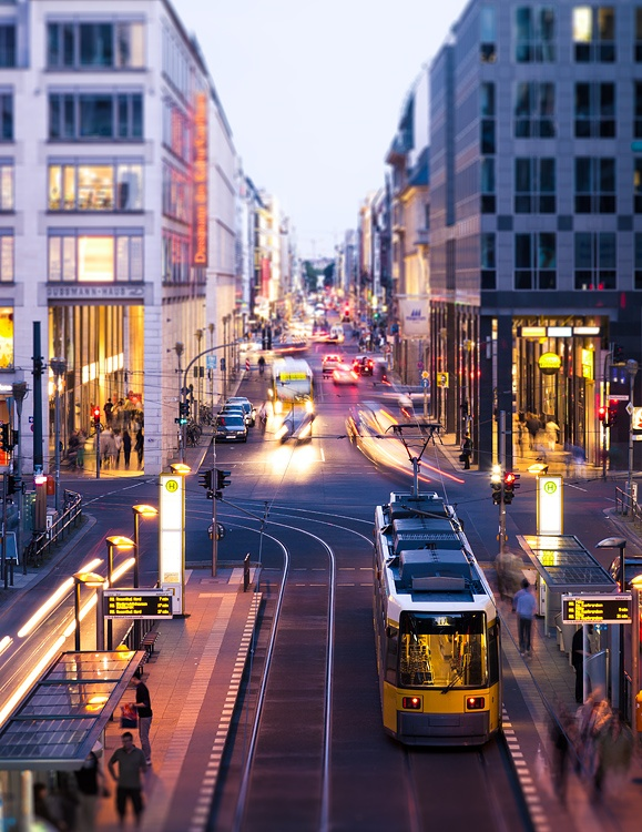 Berlin trams in Mitte shopping district
