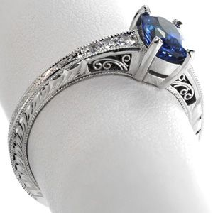 Sapphire Barcelona - Knox Jewelers - Minneapolis Minnesota - Hand Engraved Engagement Rings - Barcelona, Filigree, Hand Engraved, Blue Sapphire