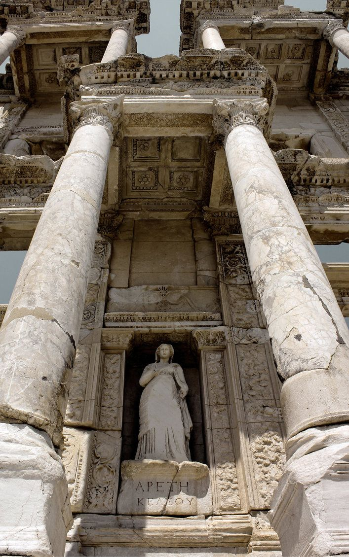 Library of Celsus, an ancient Roman building in Ephesus, Anatolia (now part of Selcuk, Turkey), completed in 135 AD. The library was built to store 12,000 scrolls and to serve as a monumental tomb for a Roman senator. by Canankk