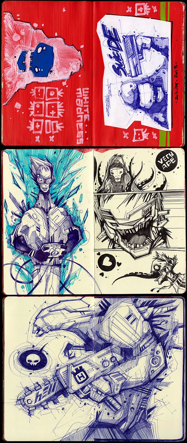 Sketches 2011-2013 by Artem Solop Kiev, Ukraine on Behance    Character Design   Drawing    Illustration   Drawing   Draw   Sketch   Doodle   Ilustração   Robots  