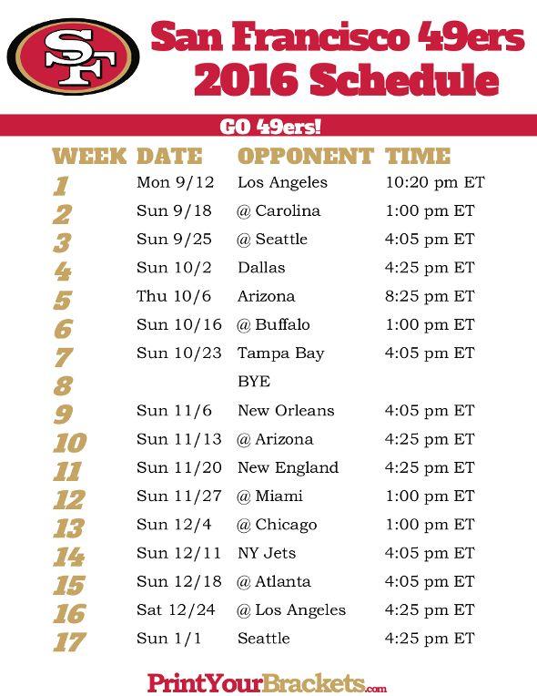 San Francisco 49ers Schedule - 2016