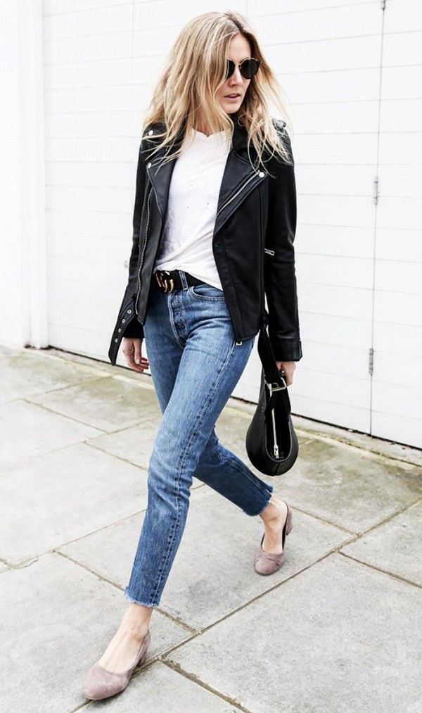 Fashion Me Now in a classic moto jacket + tee + skinnies look.