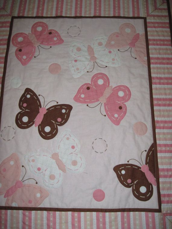 Butterfly Baby Quilt/Wallhanging Pink Brown and by pajamapatti, $39.50