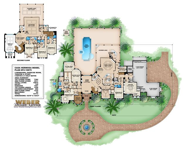 Casa hermosa house plan monster house plans by weber for Group house plans
