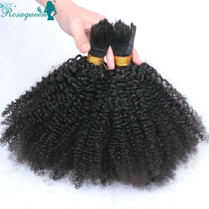 Afro crépus de cheveux humains pour tresser Crochet tresses mongol Afro crépus bouclés vierge de cheveux humains pour tresser aucun encombrement Attachment