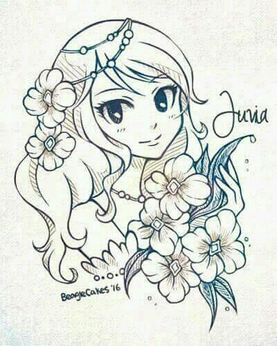 I imagine her looking this on her wedding day covered in blue, flowy flowers :3 | Fairy Tail, Gruvia, Gray x Juvia