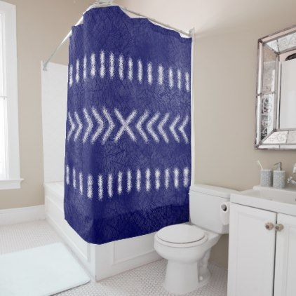 Minimalist Tribal Pattern on Navy Blue Shower Curtain - shower curtains home decor custom idea personalize bathroom
