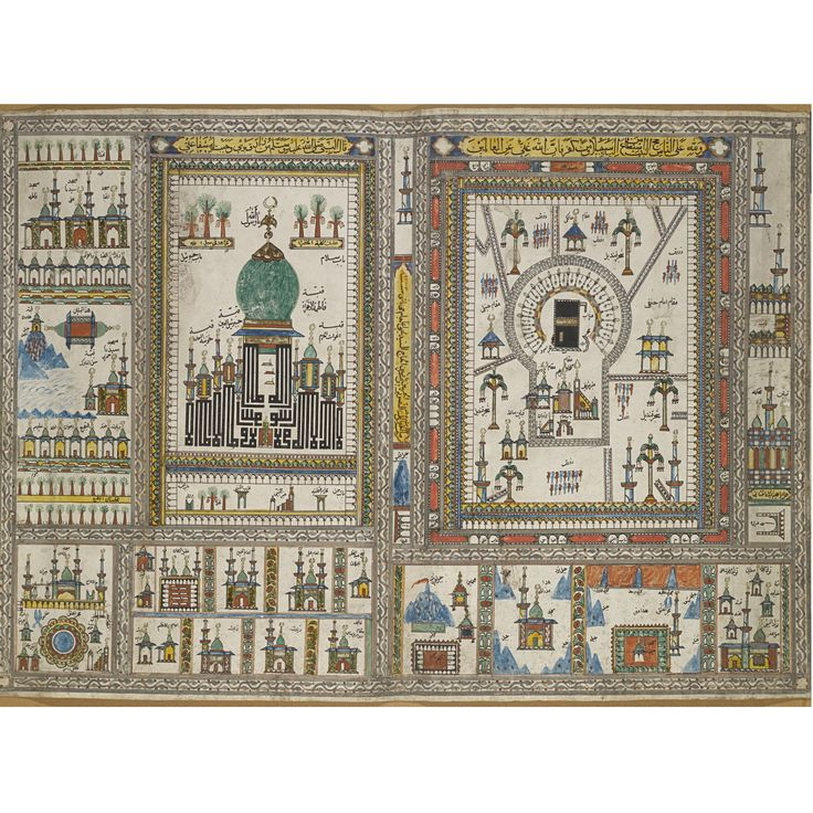 A HAJJ MAP OF MECCA AND MEDINA, PROBABLY SOUTH INDIA, DATED 1263 AH/1846 AD