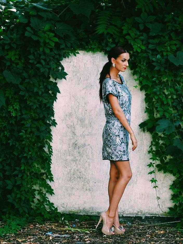 Snake print sequin dress