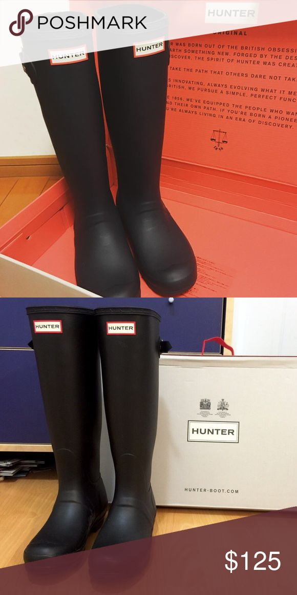 Black Hunter Boots Beautiful Hunter original boots. Feature adjustable straps. It just doesn't rain or snow where I live so I never wear them. No trade. Bundle for discount💝 Hunter Boots Shoes Winter & Rain Boots