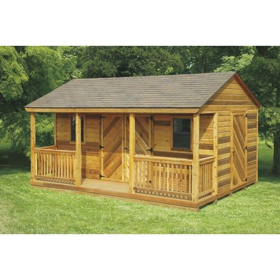 Amish cedar a frame cabin shed with full length porch for Shed with porch