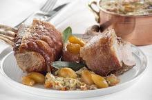Main: Roast pork rack with braised cabbage and caramelised apples