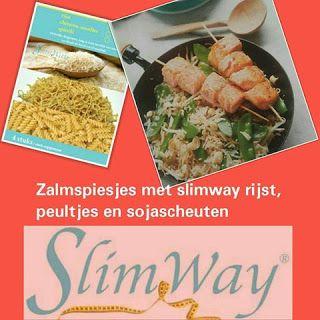 't Afslankhuys: Zalmspiesjes met slimway rijst, peultjes en sojasc...