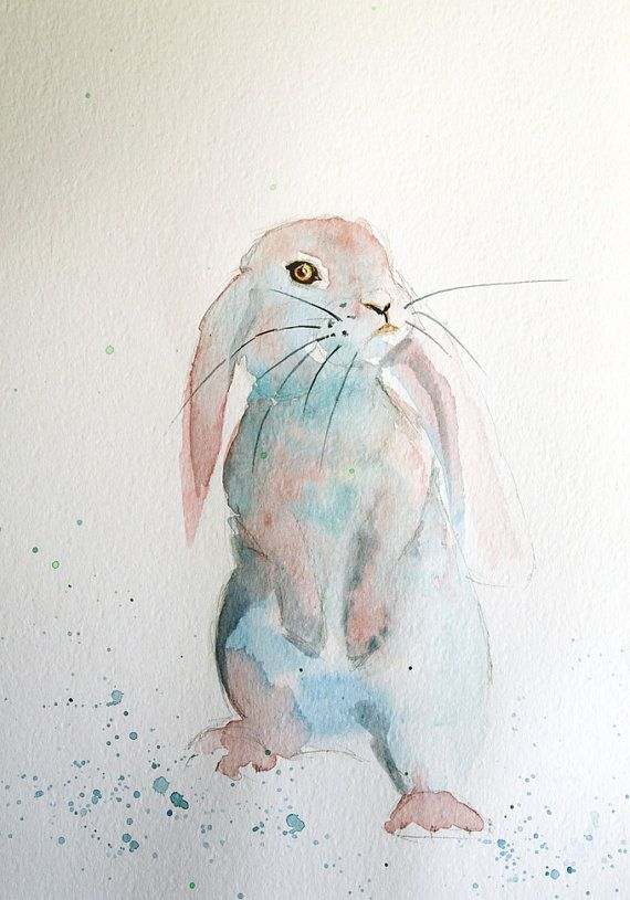 Rabbit Painting Original Watercolor Painting Nursery By Coloribli