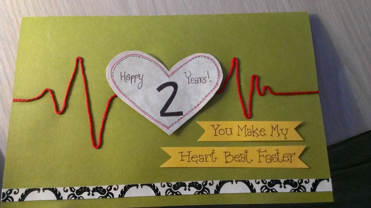 2 Year anniversary card - using construction paper, scrapbook paper and string.