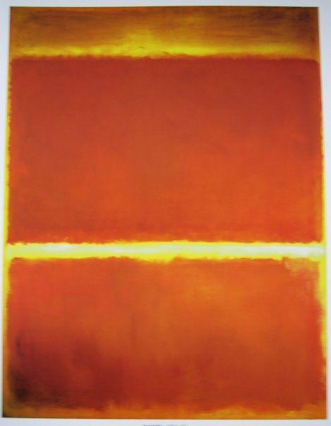 Saffron, 1957. Hypnotiserend zijn de beelden: de kleurencombinaties zijn zo krachtig dat je gedwongen wordt ernaar te blijven kijken. Tot de nieuwsgierigheid naar het volgende beeld het wint. Onwillekeurig komen er bij het kijken naar dit schilderij beelden van zonsopkomsten of zonsondergangen bij naar boven. Ook al lees ik in de citaten van Rothko dat hij absoluut niet wilde dat zijn schilderijen op landschappen zouden lijken, doemt het beeld van een landschap vol klaprozen voor me op.