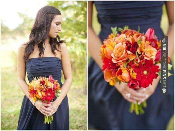 Wedding Colour Schemes 2016 – Dallas wedding photographer, orange flowers, bridesmaids bouquets, navy bridesmaid dress, fall wedding, College Station, TX, Mary Fields Photography
