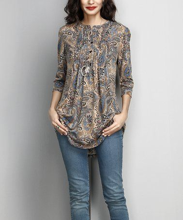 Another great find on #zulily! Brown Paisley Notch Neck Pin-Tuck Tunic #zulilyfinds