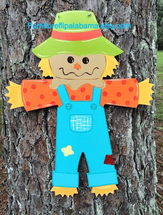 Scarecrow door hanger fall door hangerfall by Furnitureflipalabama