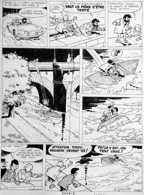 """Tif et Tondu Dessin: Willy Maltaite dit Will Scénario: Rosy Maurice Tome 9 """"Choc au Louvre"""" 1964 Planche 42A-42B-42C 37/48 cm  Tif et Tondu fêtent en 2013 leur 75ième anniversaire! En effet, la série a été créé par Fernand Dineur dans le Journal d..."""