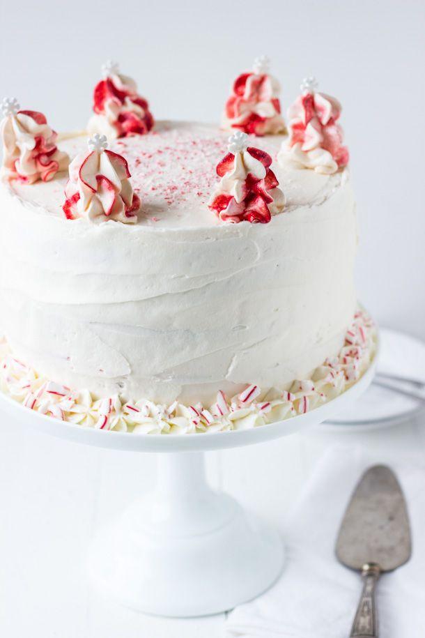 Peppermint White Chocolate Cake - a moist white chocolate cake layered in a cool peppermint whipped frosting! via @zmansaray