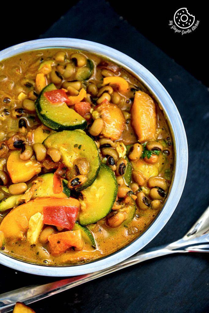 Black Eyed Bean Zucchini Peach Curry
