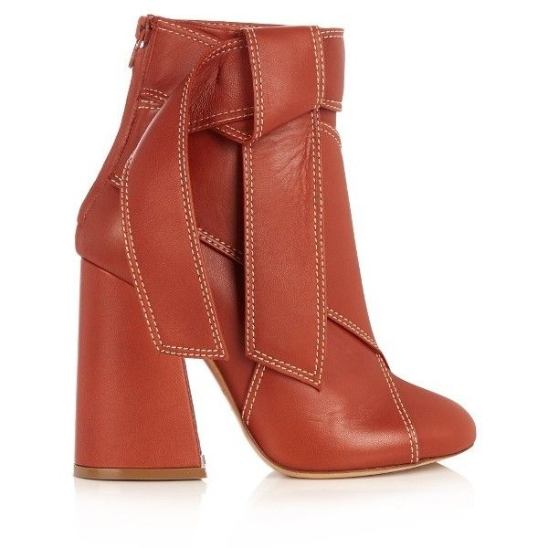 Ellery Susanna leather ankle boots ($510) ❤ liked on Polyvore featuring shoes, boots, ankle booties, tan, block heel booties, mid calf leather boots, short boots, mid-calf boots and leather booties