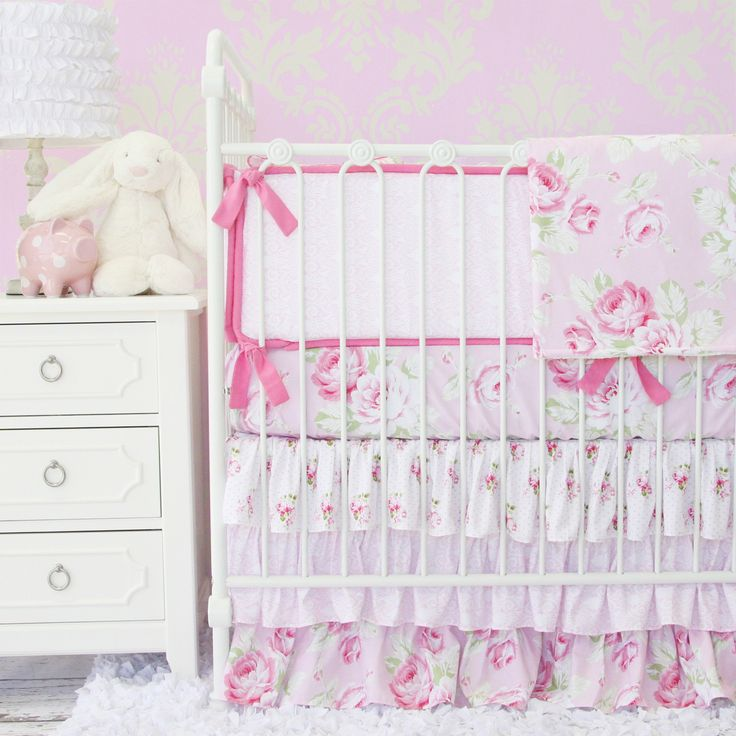 Caden Lane Baby Bedding BRAND NEW Shabby Chic Ruffle Baby Bedding with pink and green roses #babybedding #shabbychic