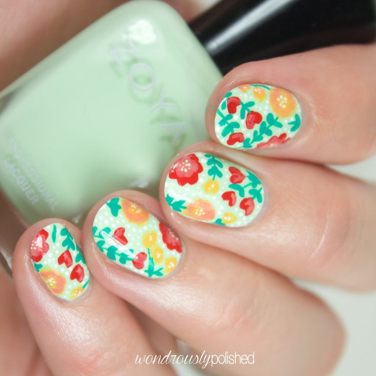 Wondrously Polished: The Planner Society - August Floral Washi Tape: Nail Art