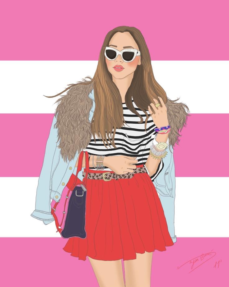 digital fashion illustration, denim jacket with fur trim, cat eye sunglasses, red pleated skirt, color blocked purse, leopard print skinny belt by Neysa Bove