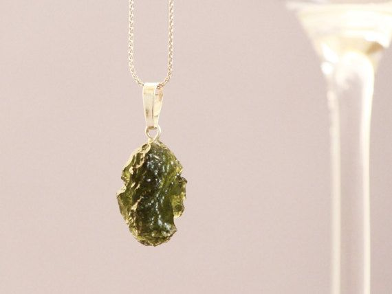Czech moldavite necklace - sterling silver chain