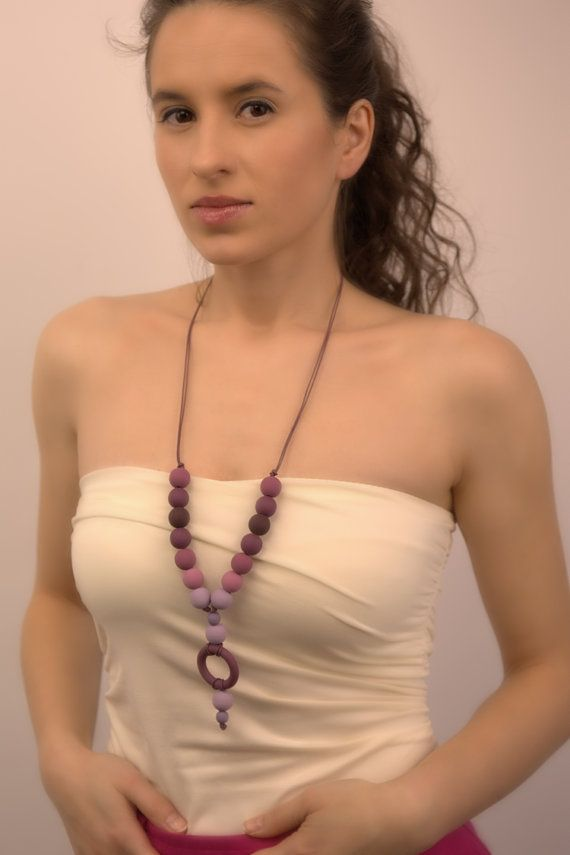 Beaded Radiant Orchid Statement Necklace  by Francysdesign on Etsy, $65.00