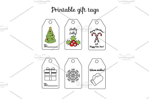 New year  printable gift tags by Bunny's Little Shop on @creativemarket