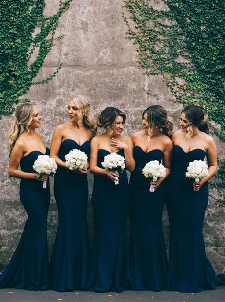 Elegant Sweetheart Sweep Train Dark Navy Mermaid Bridesmaid Dress