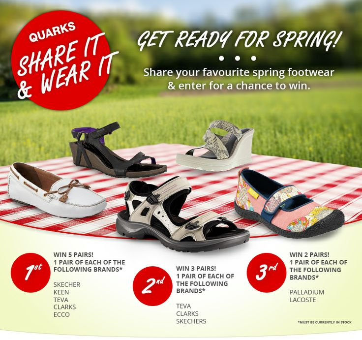 Quarks Spring Share it & Wear it Contest - Visit Quarks on Facebook and enter for your chance to win 1 of 3 awesome prize packages! #QuarkSpring https://www.facebook.com/QuarkShoes