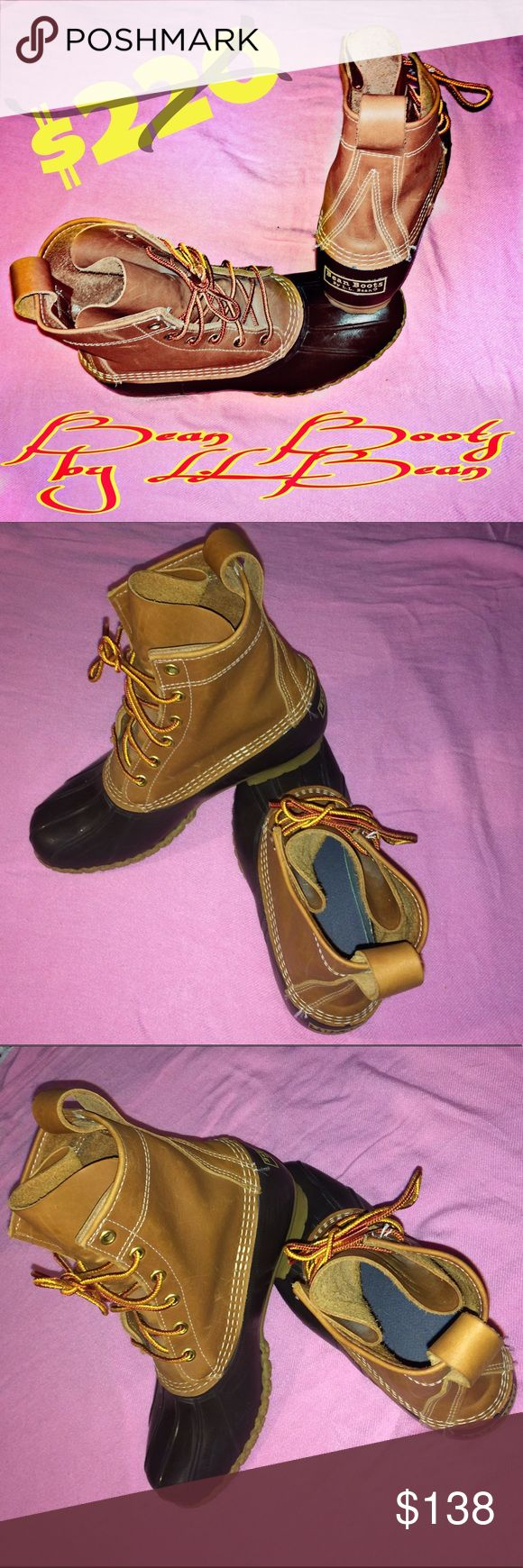 aSTEAL on LL Bean Duck Boots Size 8M THINSULATED ! These are some cool duck hunting, rain, snow, and hiking boots right here! Thinsulated. Size 8M (DM is the width) and 90%+ tread left! Not scuffed up either! They're hot and not so easy to come by! Brown leather/duck brown rubber/tan soles! Super clean and very lightly worn! Bean Boots by LL Bean is the boot to have! Sexy, stylish, and rugged! Waterproof to the core! They sale out fast at this price! Like and share- I return! My goal is to…