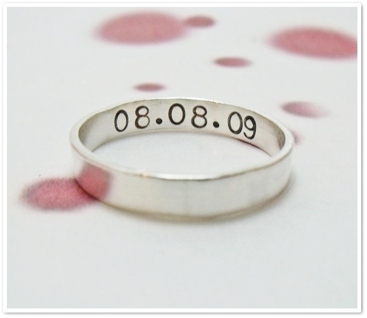 Poesy Ring Hand Stamped 4mm x 1mm Sterling Silver - promise ring,  wedding ring, purity ring. $36.00, via Etsy.    11/07/11