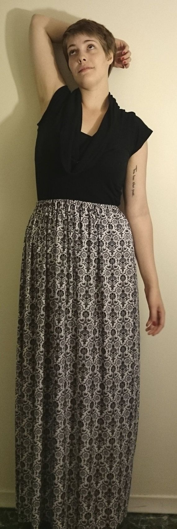 """Black and White Maxi Skirt- $30.00 100% Polyester Fits Waists 30""""-38"""""""
