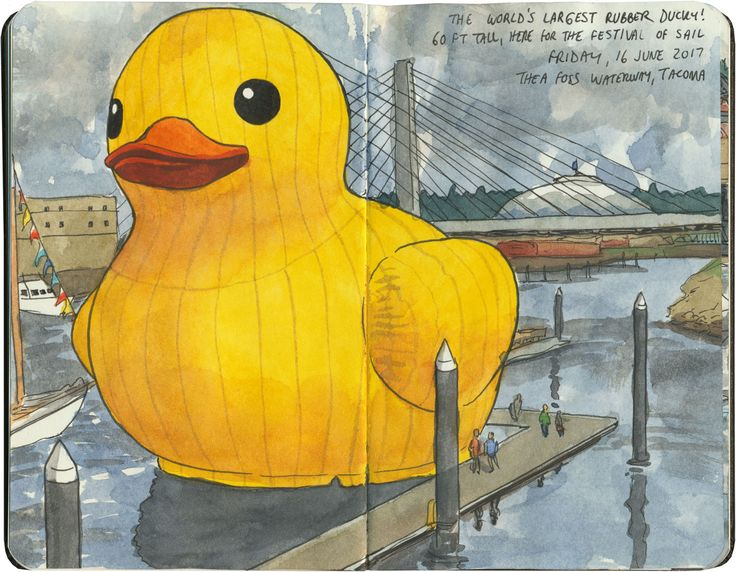The world's largest rubber ducky—I sketched it when it came to my town (Tacoma, WA).