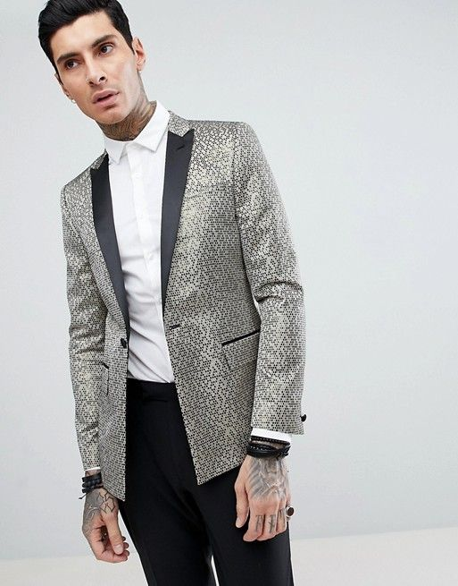 bccf2555b0de ASOS DESIGN skinny tuxedo in gold honeycomb effect with black contrast  lapel Gold Tuxedo Jacket,