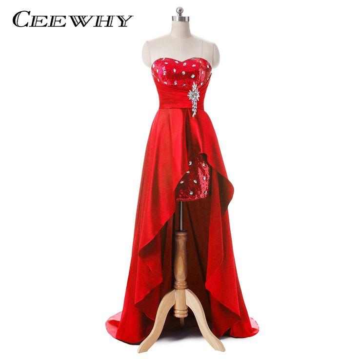 CEEWHY Sequined Crystal Evening Dresses Long Abendkleider Vestido de Noiva Short Front Back Long Court Train Prom Party Gowns #Affiliate