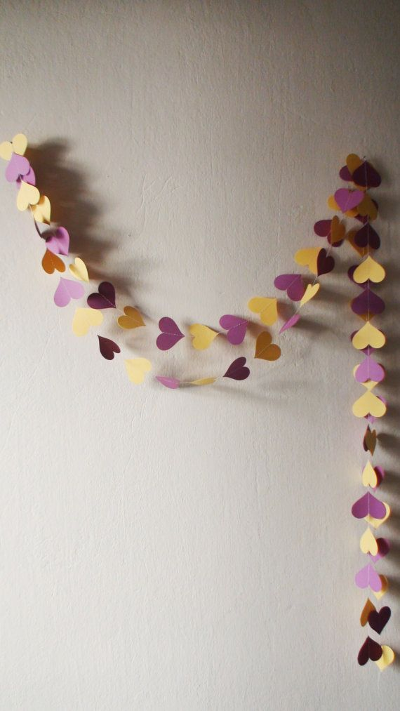 Violet and Yellow Paper Heart Garland 10ft Violet by HelenKurtidu,