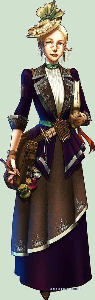 Steampunk Librarian by ghostfire on deviantart  but she would be one of the Traveling Librarians of the Discworld