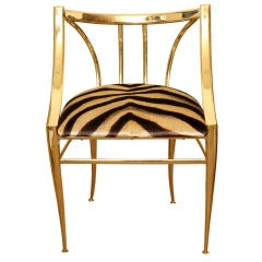 in the style of Gio PontiThu Bridges, Gold Chairs, Golden Goodies, Animal Prints, Prints Chairs, Hollywood Regency, Golden Thrones, Golden Gold, Gold Zebras